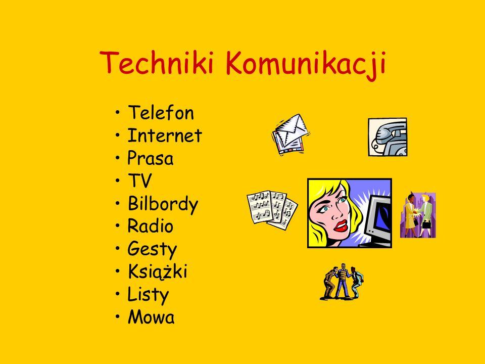 Techniki Komunikacji Telefon Internet Prasa TV Bilbordy Radio Gesty Książki Listy Mowa