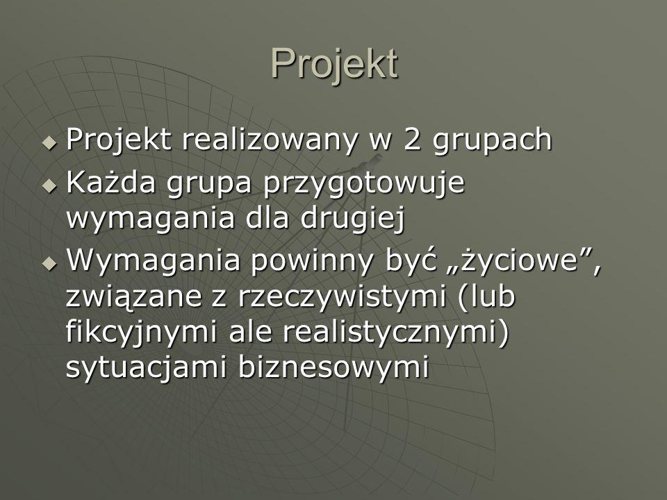 Projekt Projekt realizowany w 2 grupach Projekt realizowany w 2 grupach Każda grupa przygotowuje wymagania dla drugiej Każda grupa przygotowuje wymaga