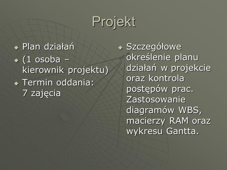 Projekt Plan działań Plan działań (1 osoba – kierownik projektu) (1 osoba – kierownik projektu) Termin oddania: 7 zajęcia Termin oddania: 7 zajęcia Sz