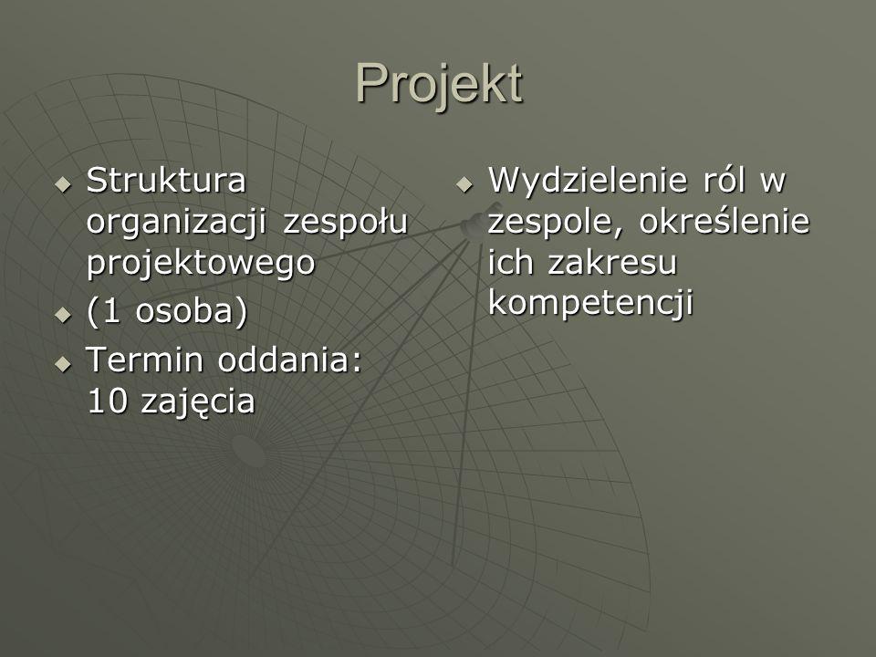 Projekt Struktura organizacji zespołu projektowego Struktura organizacji zespołu projektowego (1 osoba) (1 osoba) Termin oddania: 10 zajęcia Termin od
