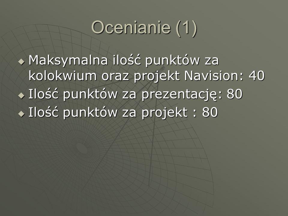 Ocenianie (1) Maksymalna ilość punktów za kolokwium oraz projekt Navision: 40 Maksymalna ilość punktów za kolokwium oraz projekt Navision: 40 Ilość pu