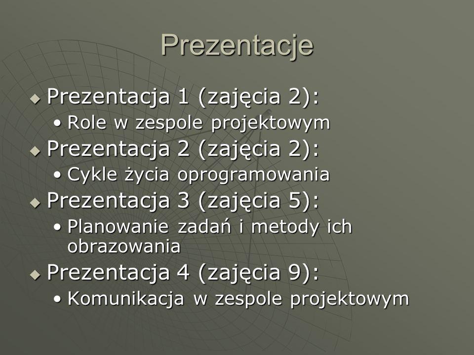 Prezentacje: Prezentacja 5 (zajęcia 10): Prezentacja 5 (zajęcia 10): Jakość w projekcie informatycznymJakość w projekcie informatycznym Prezentacja 6 (zajęcia 10): Prezentacja 6 (zajęcia 10): Testowanie oprogramowaniaTestowanie oprogramowania Prezentacja 7 (zajęcia 12): Prezentacja 7 (zajęcia 12): Szacowanie złożoności oprogramowaniaSzacowanie złożoności oprogramowania