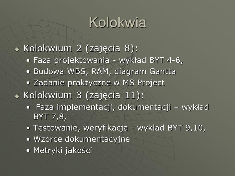 Kolokwia Kolokwium 2 (zajęcia 8): Kolokwium 2 (zajęcia 8): Faza projektowania - wykład BYT 4-6,Faza projektowania - wykład BYT 4-6, Budowa WBS, RAM, d