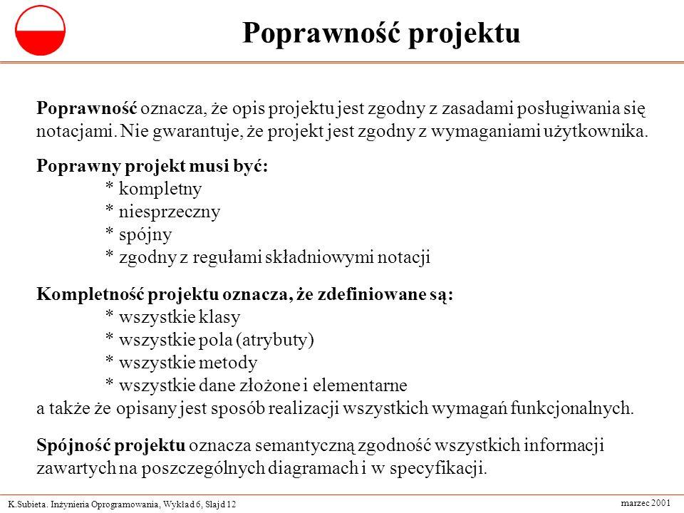 K.Subieta. Inżynieria Oprogramowania, Wykład 6, Slajd 12 marzec 2001 Poprawność projektu Poprawność oznacza, że opis projektu jest zgodny z zasadami p