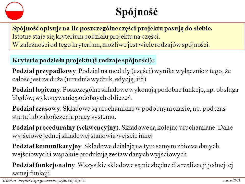 K.Subieta. Inżynieria Oprogramowania, Wykład 6, Slajd 14 marzec 2001 Spójność Spójność opisuje na ile poszczególne części projektu pasują do siebie. I