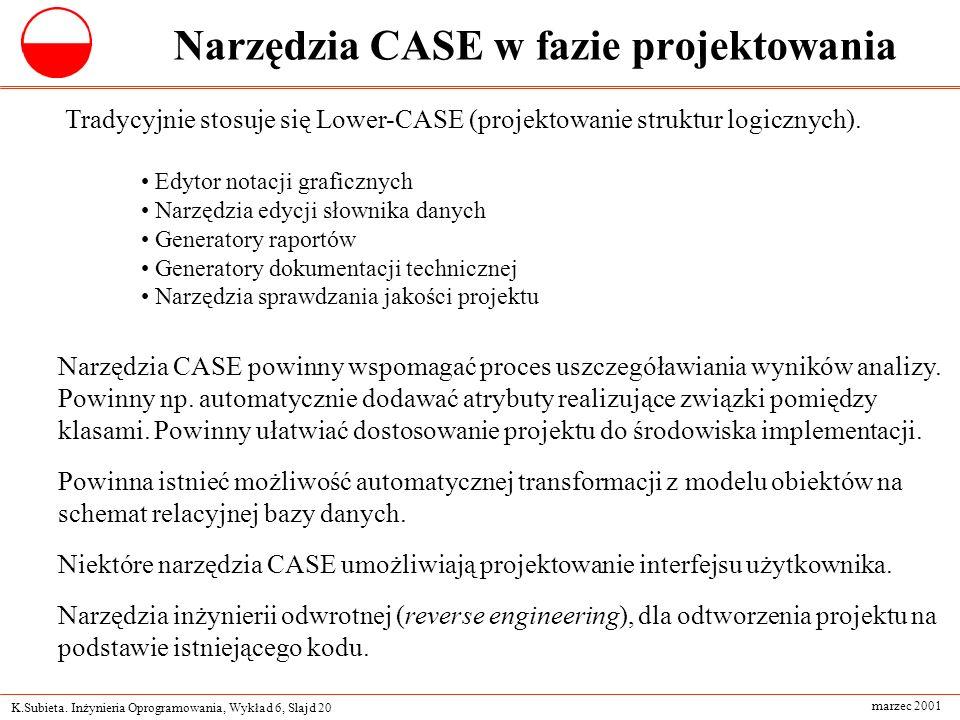 K.Subieta. Inżynieria Oprogramowania, Wykład 6, Slajd 20 marzec 2001 Narzędzia CASE w fazie projektowania Tradycyjnie stosuje się Lower-CASE (projekto