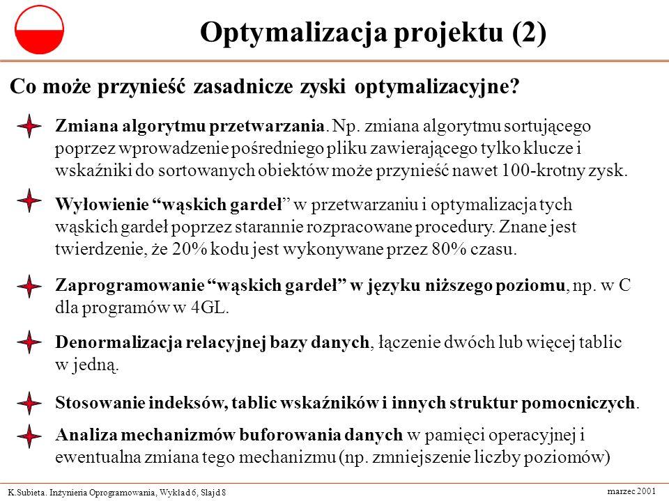 K.Subieta. Inżynieria Oprogramowania, Wykład 6, Slajd 8 marzec 2001 Optymalizacja projektu (2) Co może przynieść zasadnicze zyski optymalizacyjne? Zmi