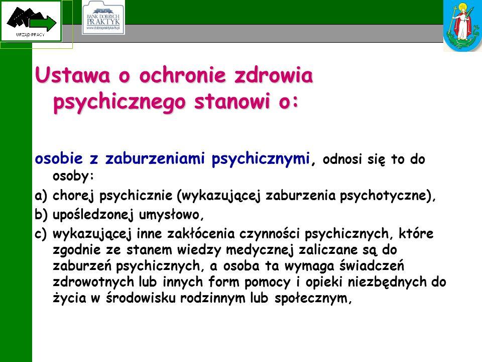 Ustawa o ochronie zdrowia psychicznego stanowi o: osobie z zaburzeniami psychicznymi, odnosi się to do osoby: a)chorej psychicznie (wykazującej zaburz