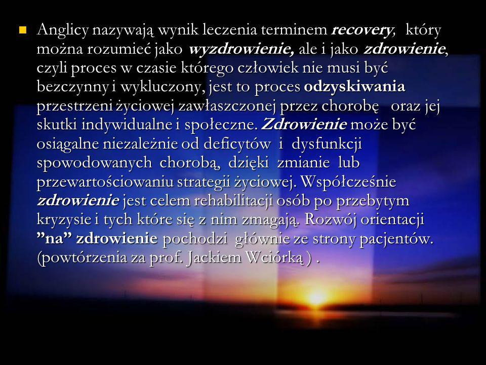 Anglicy nazywają wynik leczenia terminem recovery, który można rozumieć jako wyzdrowienie, ale i jako zdrowienie, czyli proces w czasie którego człowi