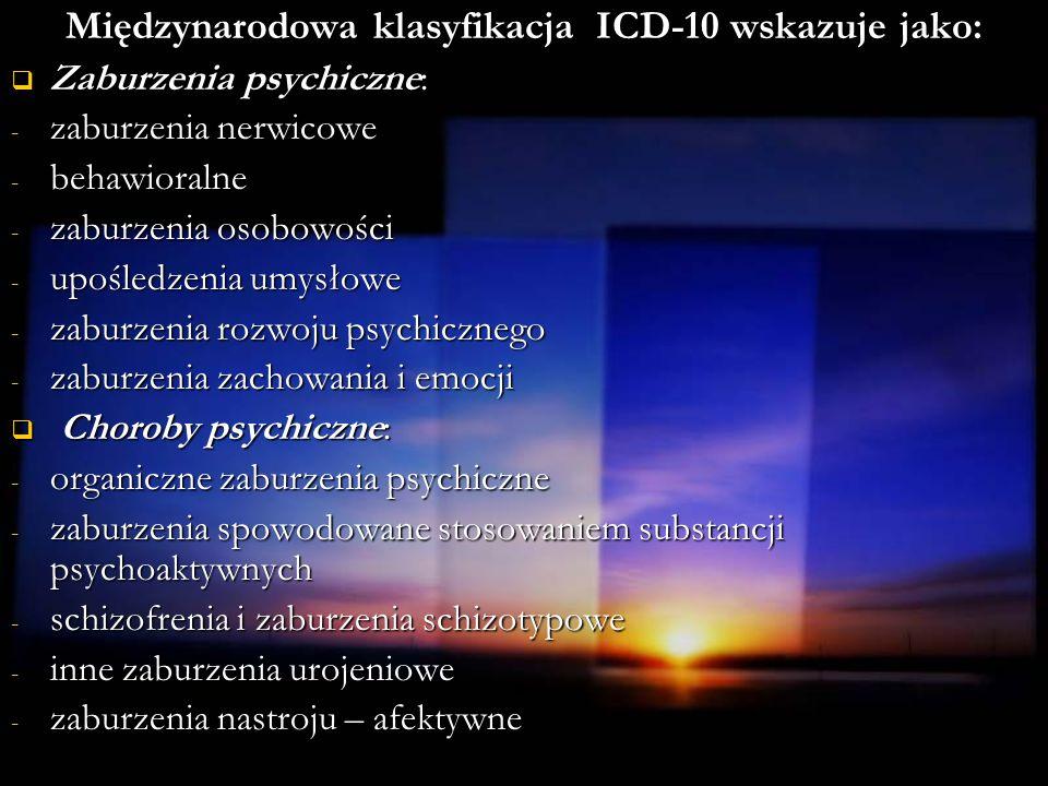 Międzynarodowa klasyfikacja ICD-10 wskazuje jako: Zaburzenia psychiczne: Zaburzenia psychiczne: - zaburzenia nerwicowe - behawioralne - zaburzenia oso