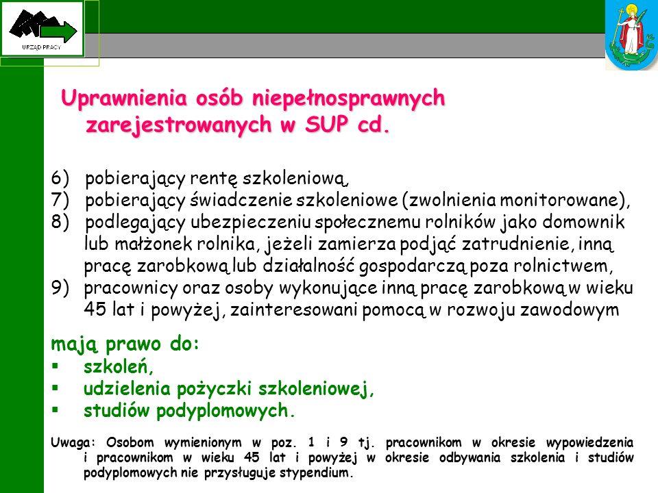 Uprawnienia osób niepełnosprawnych zarejestrowanych w SUP cd. 6) pobierający rentę szkoleniową, 7) pobierający świadczenie szkoleniowe (zwolnienia mon