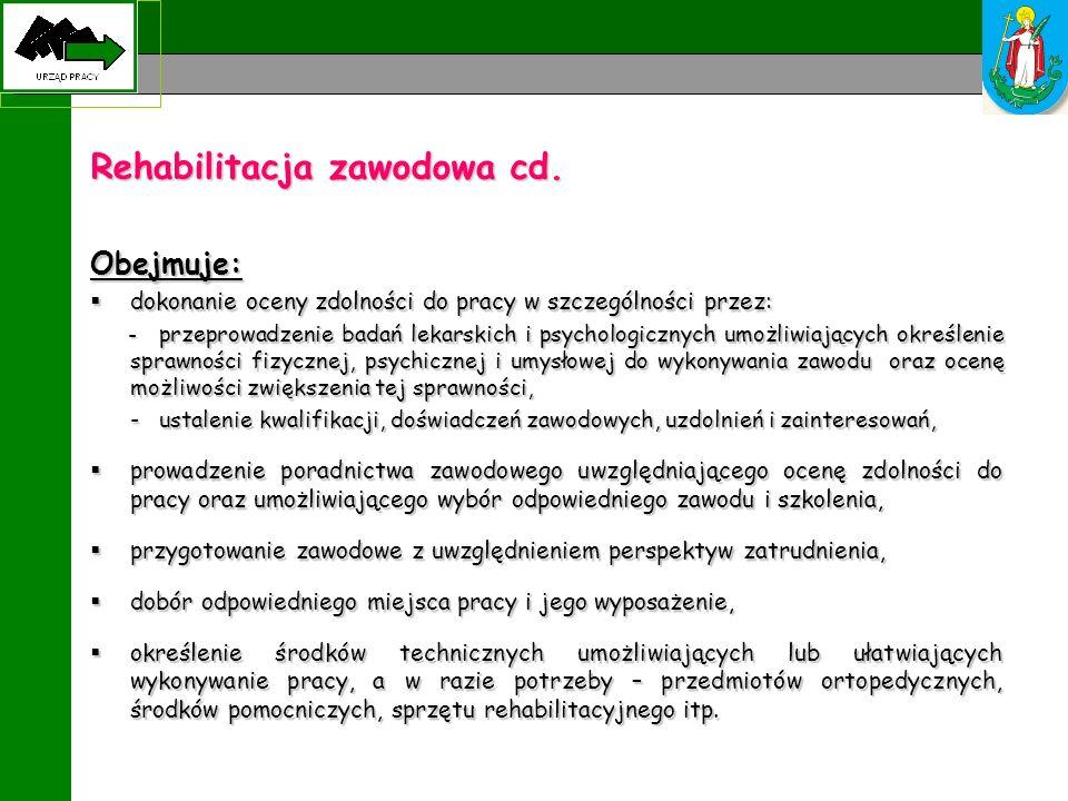 Rehabilitacja zawodowa cd. Obejmuje: dokonanie oceny zdolności do pracy w szczególności przez: dokonanie oceny zdolności do pracy w szczególności prze