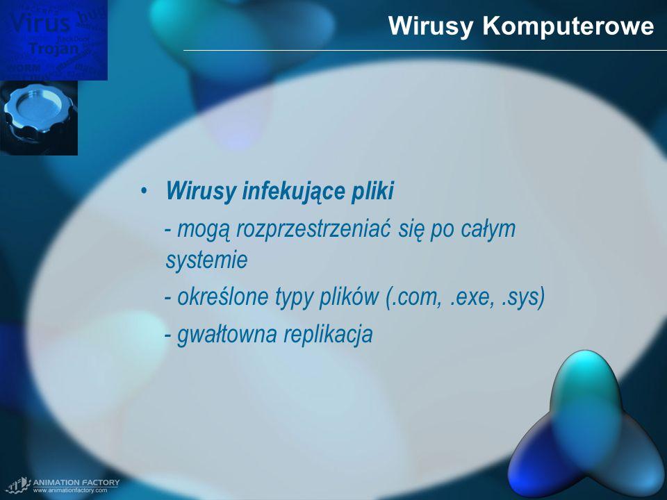Wirusy Komputerowe Wirusy infekujące pliki - mogą rozprzestrzeniać się po całym systemie - określone typy plików (.com,.exe,.sys) - gwałtowna replikac