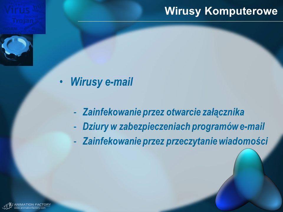 Wirusy Komputerowe Wirusy e-mail - Zainfekowanie przez otwarcie załącznika - Dziury w zabezpieczeniach programów e-mail - Zainfekowanie przez przeczyt