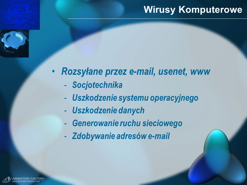 Wirusy Komputerowe Rozsyłane przez e-mail, usenet, www - Socjotechnika - Uszkodzenie systemu operacyjnego - Uszkodzenie danych - Generowanie ruchu sie