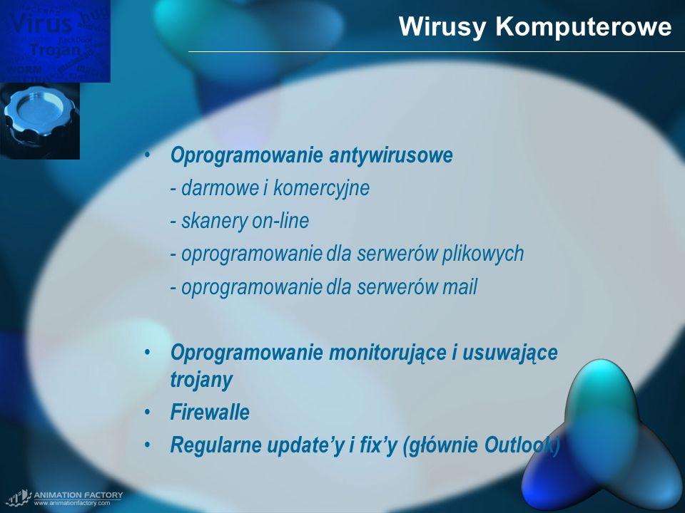 Wirusy Komputerowe Oprogramowanie antywirusowe - darmowe i komercyjne - skanery on-line - oprogramowanie dla serwerów plikowych - oprogramowanie dla s