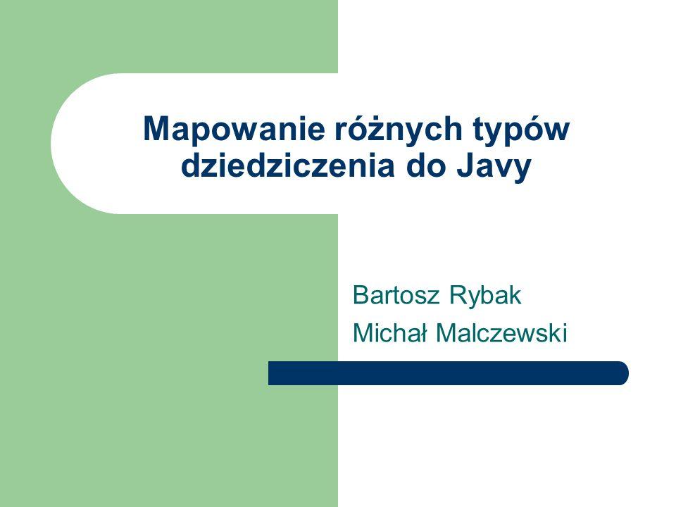 Mapowanie różnych typów dziedziczenia do Javy Bartosz Rybak Michał Malczewski