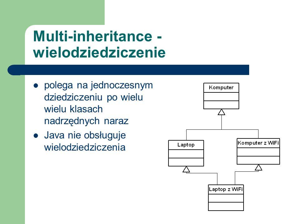 Multi-inheritance - wielodziedziczenie polega na jednoczesnym dziedziczeniu po wielu wielu klasach nadrzędnych naraz Java nie obsługuje wielodziedzicz