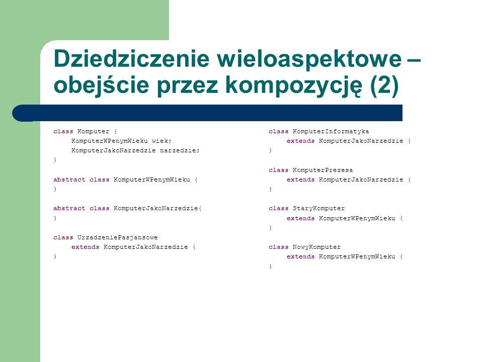 Dziedziczenie wieloaspektowe – obejście przez kompozycję (2) class Komputer { KomputerWPenymWieku wiek; KomputerJakoNarzedzie narzedzie; } abstract cl