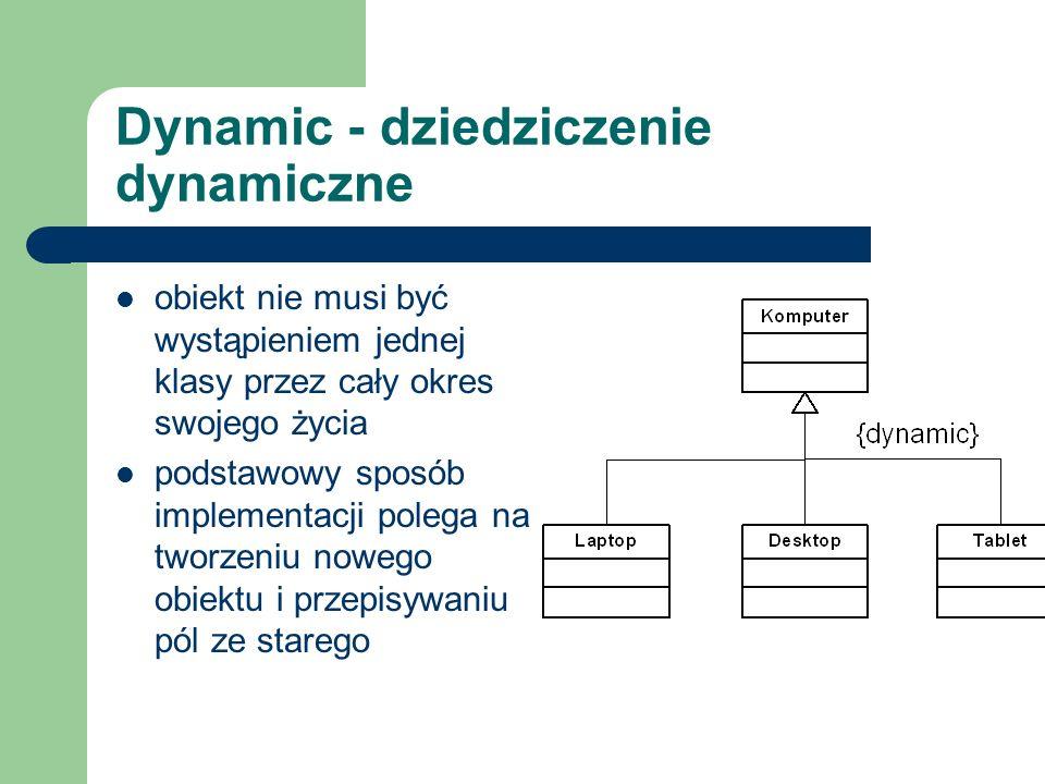 Dynamic - dziedziczenie dynamiczne obiekt nie musi być wystąpieniem jednej klasy przez cały okres swojego życia podstawowy sposób implementacji polega
