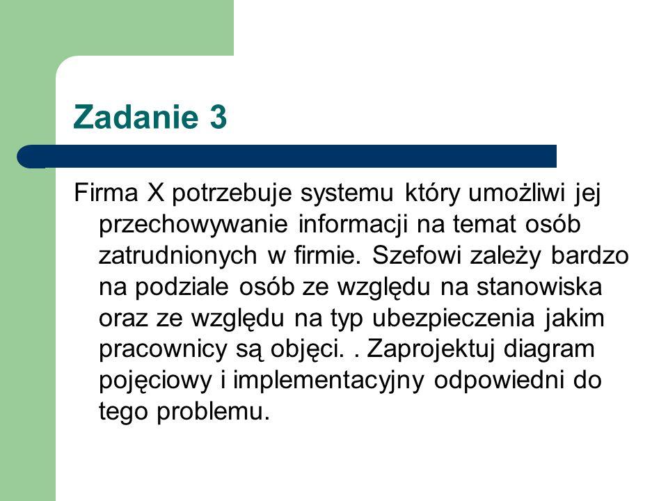 Zadanie 3 Firma X potrzebuje systemu który umożliwi jej przechowywanie informacji na temat osób zatrudnionych w firmie. Szefowi zależy bardzo na podzi