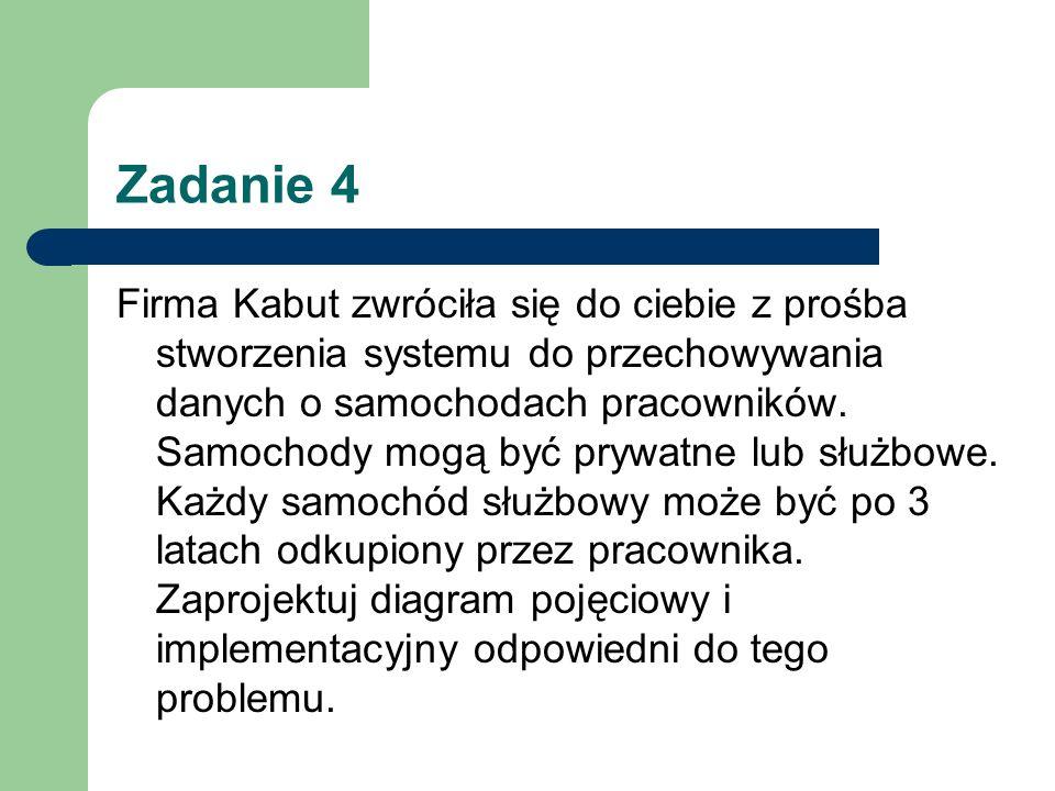 Zadanie 4 Firma Kabut zwróciła się do ciebie z prośba stworzenia systemu do przechowywania danych o samochodach pracowników. Samochody mogą być prywat