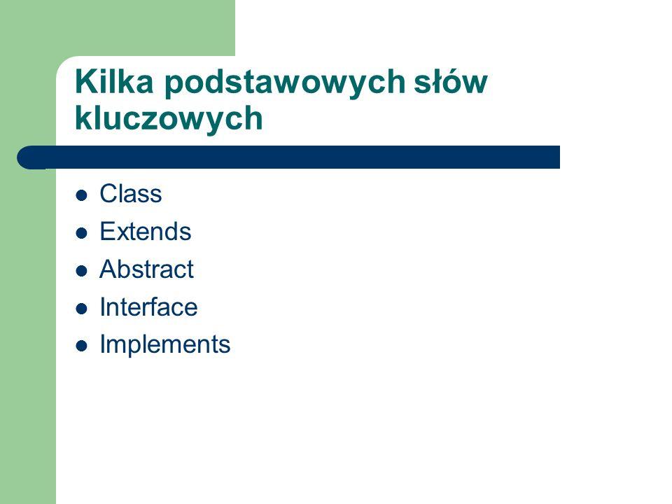 Kilka podstawowych słów kluczowych Class Extends Abstract Interface Implements
