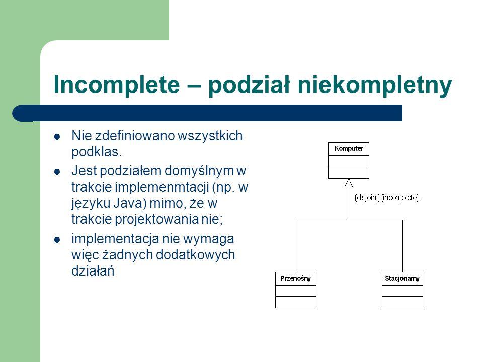 Incomplete – podział niekompletny Nie zdefiniowano wszystkich podklas. Jest podziałem domyślnym w trakcie implemenmtacji (np. w języku Java) mimo, że