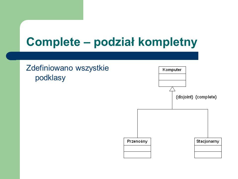 Complete – podział kompletny Zdefiniowano wszystkie podklasy