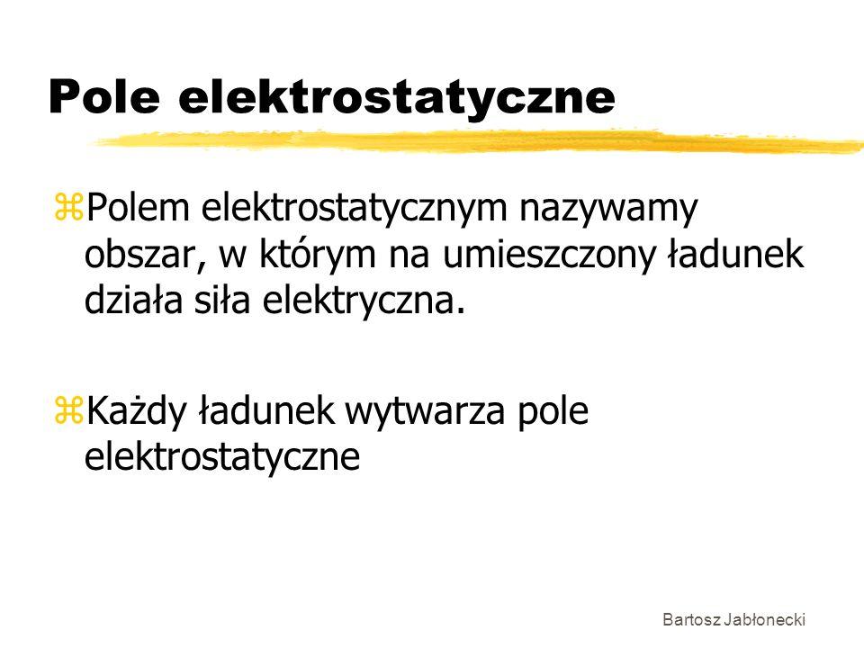 Bartosz Jabłonecki Pole elektrostatyczne zPolem elektrostatycznym nazywamy obszar, w którym na umieszczony ładunek działa siła elektryczna. zKażdy ład