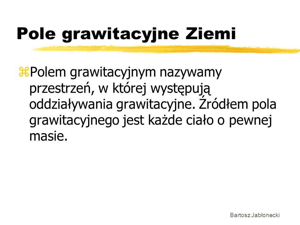 Bartosz Jabłonecki Pole grawitacyjne Ziemi zPolem grawitacyjnym nazywamy przestrzeń, w której występują oddziaływania grawitacyjne. Źródłem pola grawi