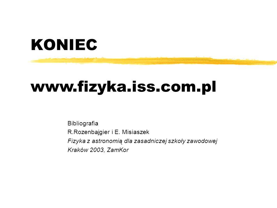 KONIEC Bibliografia R.Rozenbajgier i E. Misiaszek Fizyka z astronomią dla zasadniczej szkoły zawodowej Kraków 2003, ZamKor www.fizyka.iss.com.pl