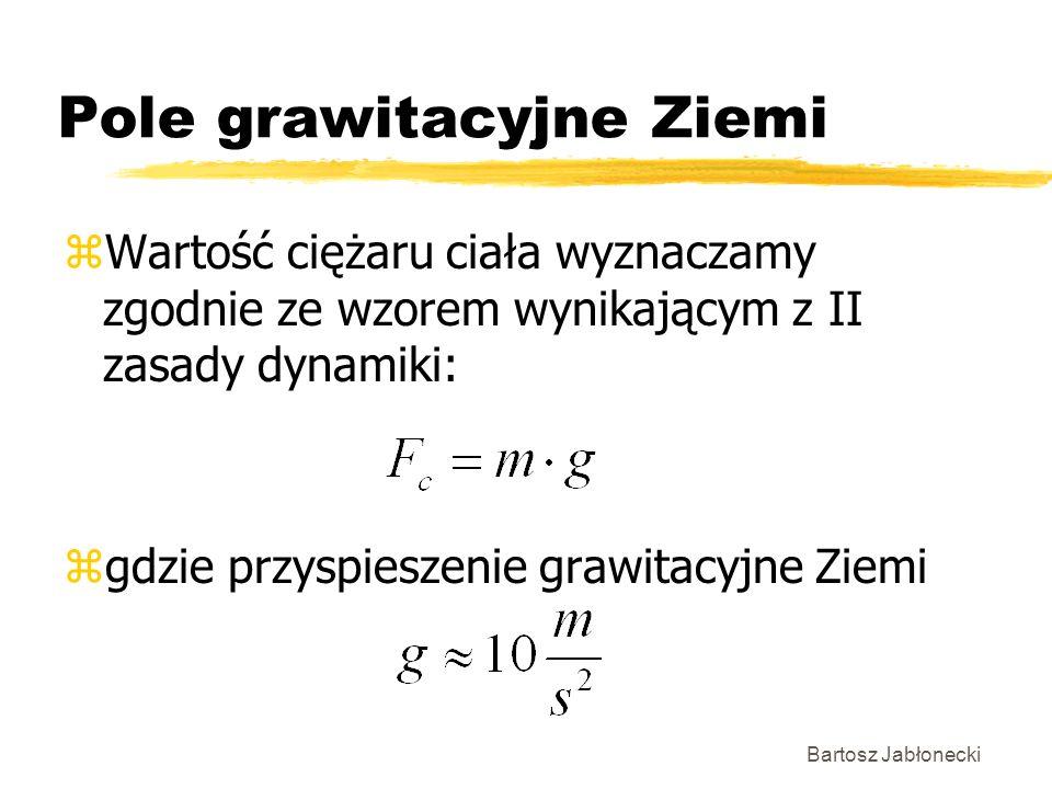 Bartosz Jabłonecki Pole grawitacyjne Ziemi zWartość ciężaru ciała wyznaczamy zgodnie ze wzorem wynikającym z II zasady dynamiki: zgdzie przyspieszenie