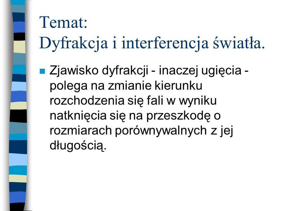 Temat: Dyfrakcja i interferencja światła. n Zjawisko dyfrakcji - inaczej ugięcia - polega na zmianie kierunku rozchodzenia się fali w wyniku natknięci