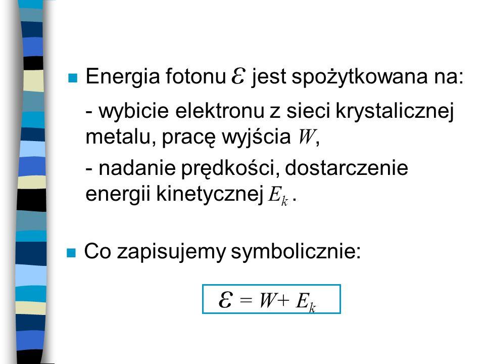Energia fotonu ε jest spożytkowana na: - wybicie elektronu z sieci krystalicznej metalu, pracę wyjścia W, - nadanie prędkości, dostarczenie energii kinetycznej E k.