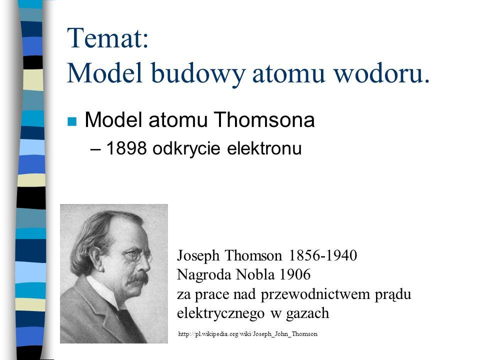 Temat: Model budowy atomu wodoru. n Model atomu Thomsona –1898 odkrycie elektronu Joseph Thomson 1856-1940 Nagroda Nobla 1906 za prace nad przewodnict