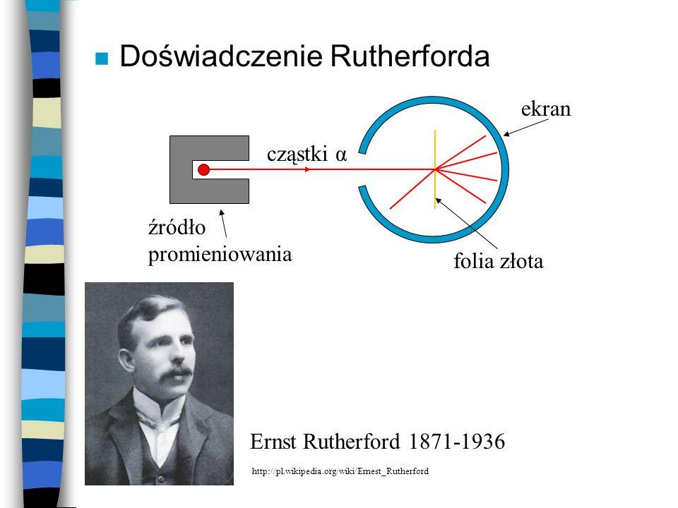 n Doświadczenie Rutherforda ekran źródło promieniowania cząstki α folia złota Ernst Rutherford 1871-1936 http://pl.wikipedia.org/wiki/Ernest_Rutherfor