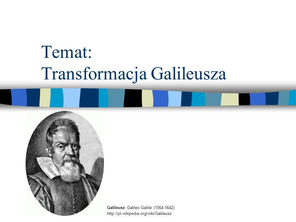 Temat: Transformacja Galileusza Galileusz, Galileo Galilei (1564-1642) http://pl.wikipedia.org/wiki/Galileusz