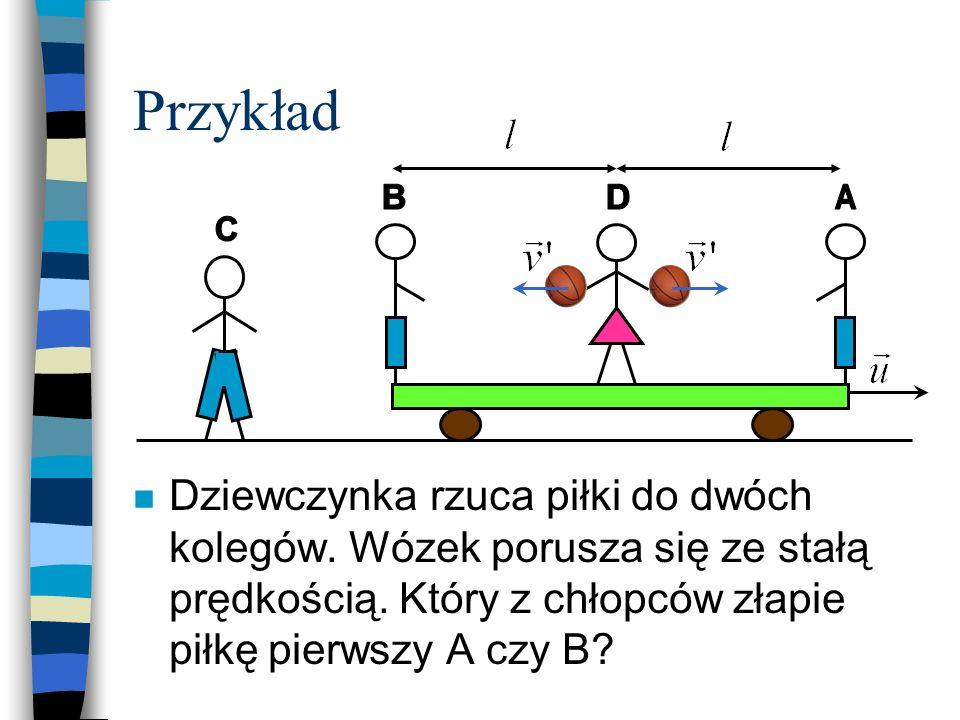 Przykład n Dziewczynka rzuca piłki do dwóch kolegów. Wózek porusza się ze stałą prędkością. Który z chłopców złapie piłkę pierwszy A czy B?