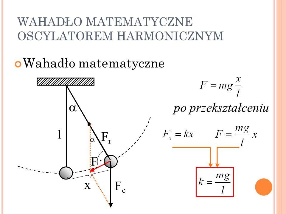 WAHADŁO MATEMATYCZNE OSCYLATOREM HARMONICZNYM Wahadło matematyczne l FrFr FcFc F x po przekształceniu