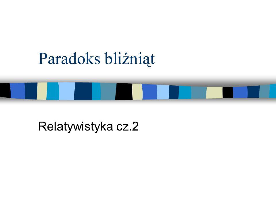 Paradoks bliźniąt Relatywistyka cz.2