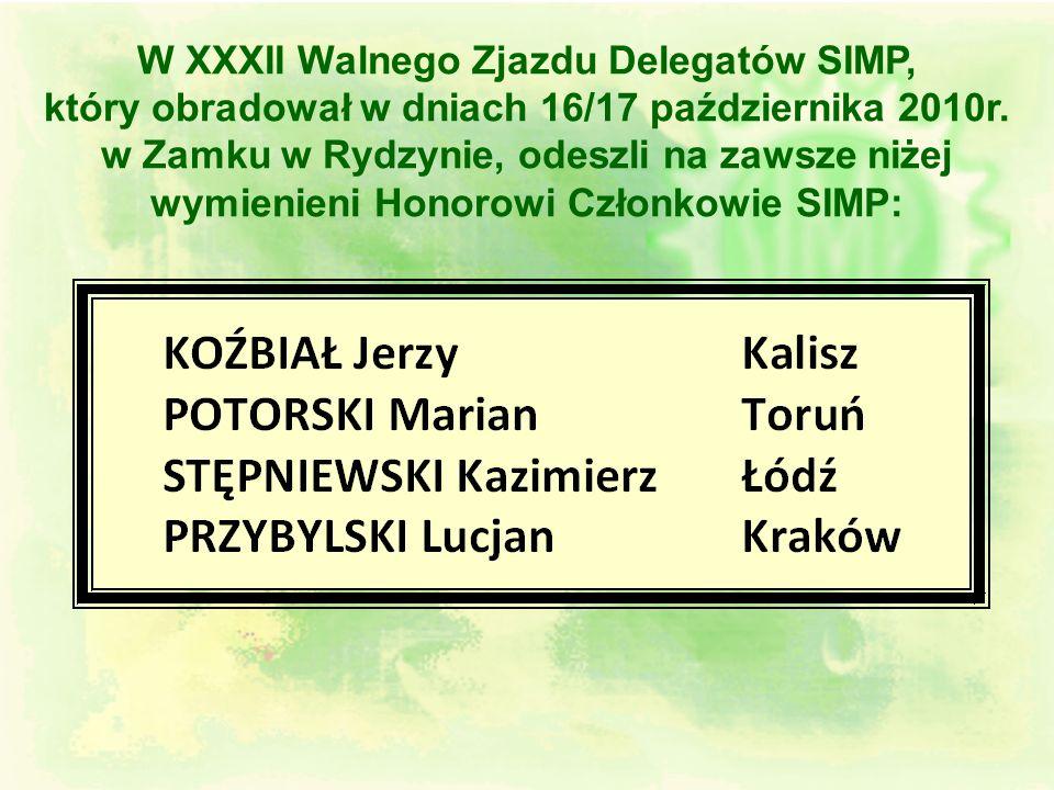 Jubileusz 85-lecia działalności SIMP 130 rocznicy urodzin założyciela SIMP prof. Henryka Mierzejewskiego Jubileusz 85-lecia działalności SIMP oraz 130