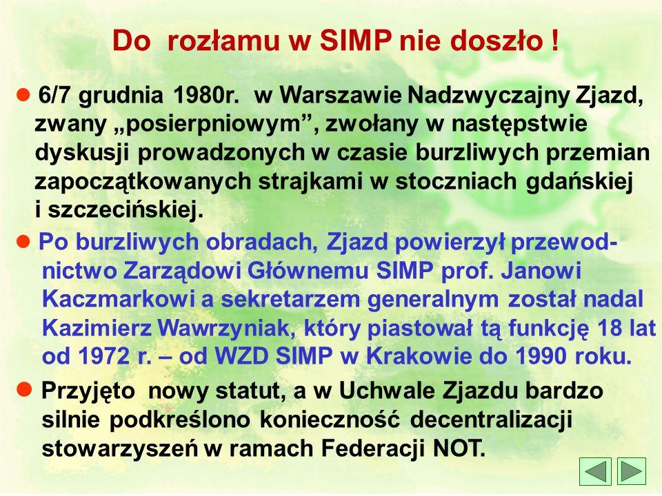 l 1972 rok XXII Walny Zjazd Delegatów w Krakowie. Wtedy zostały sformułowane aktualne do dzisiaj wyzwania dla SIMP : SIMP – ekspertem w dziedzinie bud