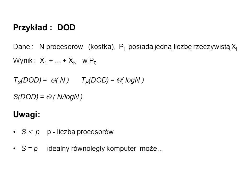 Przykład : DOD Dane : N procesorów (kostka), P i posiada jedną liczbę rzeczywistą X i Wynik : X 1 +... + X N w P 0 T S (DOD) = ( N ) T P (DOD) = ( log