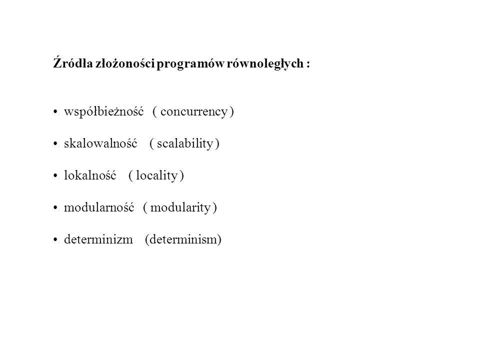 Źródła złożoności programów równoległych : współbieżność ( concurrency ) skalowalność ( scalability ) lokalność ( locality ) modularność ( modularity
