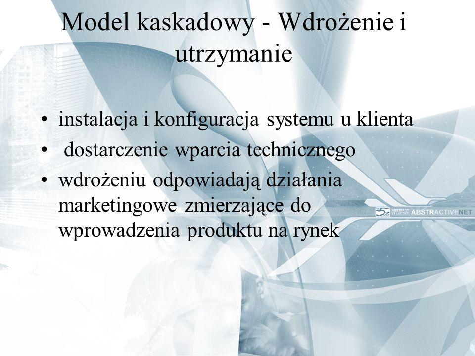 Model kaskadowy - Wdrożenie i utrzymanie instalacja i konfiguracja systemu u klienta dostarczenie wparcia technicznego wdrożeniu odpowiadają działania