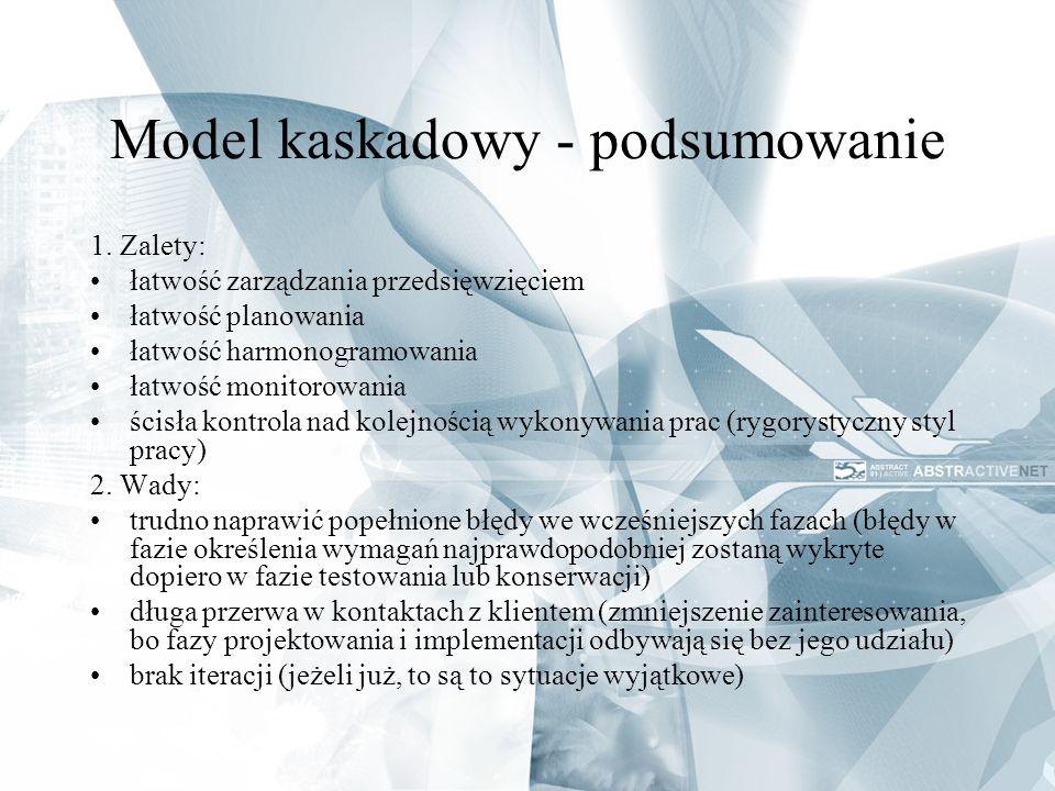 Model kaskadowy - podsumowanie 1. Zalety: łatwość zarządzania przedsięwzięciem łatwość planowania łatwość harmonogramowania łatwość monitorowania ścis