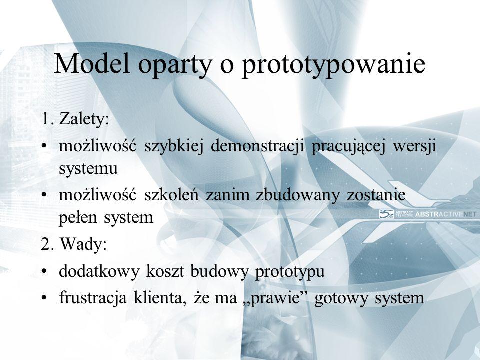 Model oparty o prototypowanie 1. Zalety: możliwość szybkiej demonstracji pracującej wersji systemu możliwość szkoleń zanim zbudowany zostanie pełen sy