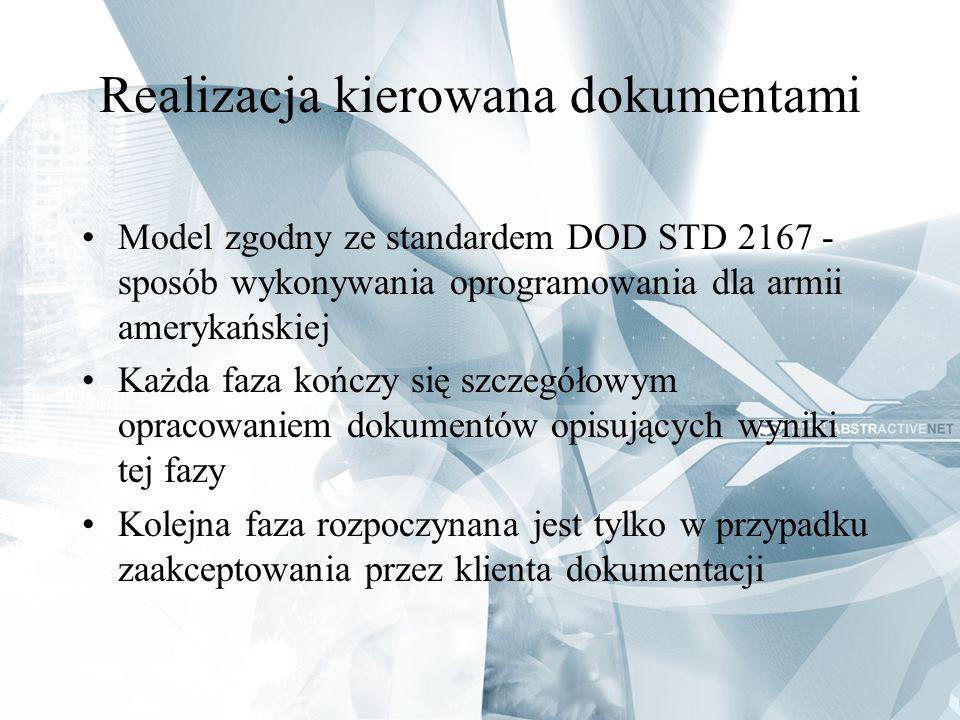 Realizacja kierowana dokumentami Model zgodny ze standardem DOD STD 2167 - sposób wykonywania oprogramowania dla armii amerykańskiej Każda faza kończy