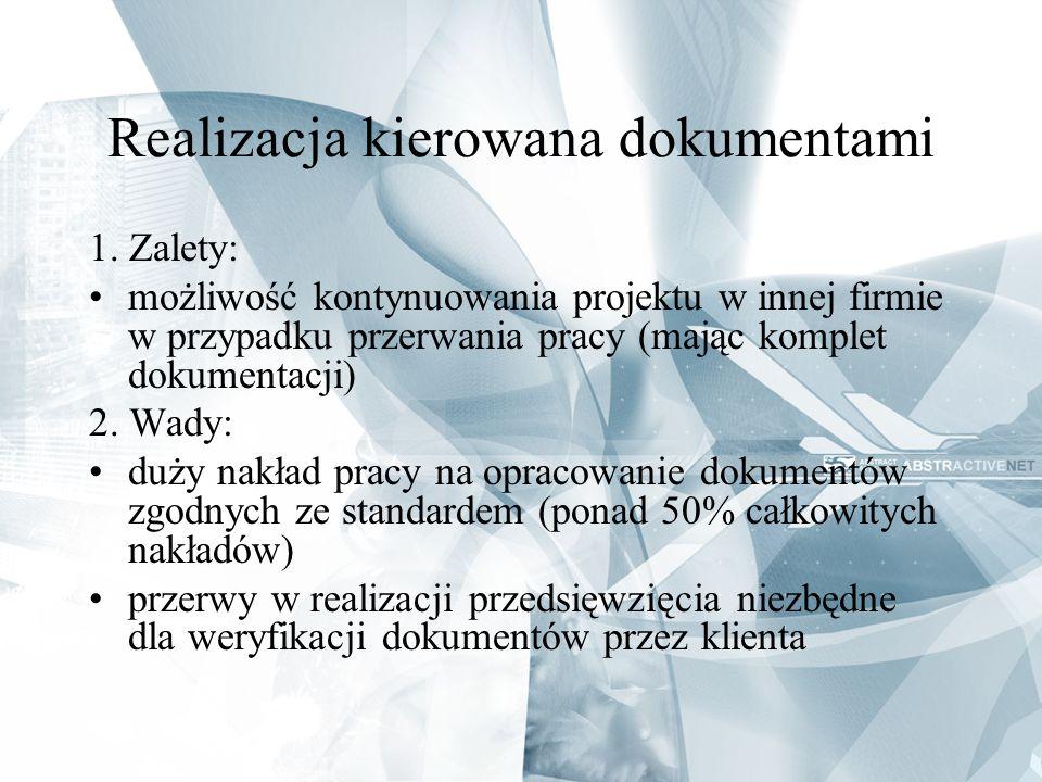 Realizacja kierowana dokumentami 1. Zalety: możliwość kontynuowania projektu w innej firmie w przypadku przerwania pracy (mając komplet dokumentacji)